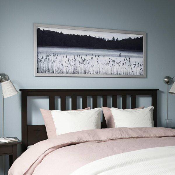 БЬЁРКСТА Картина с рамой, Лесное озеро, цвет алюминия - 093.847.15