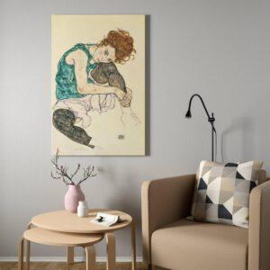 БЬЁРКСТА Картина с рамой, Сидящая женщина с согнутым коленом, цвет алюминия - 593.847.51
