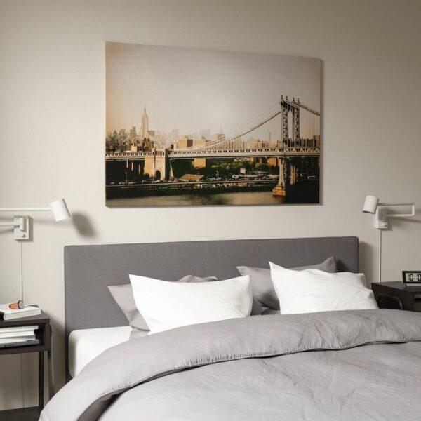 БЬЁРКСТА Картина с рамой, Манхэттенский мост, цвет алюминия - 893.846.36