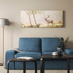 БЬЁРКСТА Картина с рамой, Олень на поляне, цвет алюминия - 493.847.04