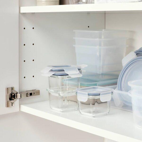 ИКЕА/365+ Контейнер для продуктов с крышкой, четырехугольной формы, стекло - 604.449.47