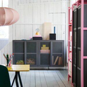 ИВАР Шкаф с дверями, серый сетка - 604.840.90