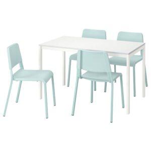 МЕЛЬТОРП / ТЕОДОРЕС Стол и 4 стула, белый, светлая бирюза - 693.886.83