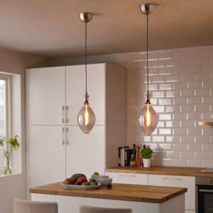 РОЛЛЬСБУ / ГОТХЕМ Подвесной светильник с лампочкой, форма воздушного шара серое прозрачное стекло, темно-серый - 993.202.10
