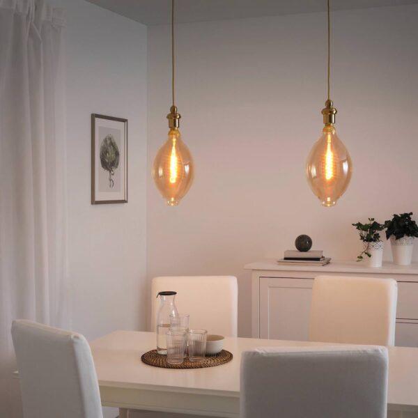 РОЛЛЬСБУ Светодиод E27 140 лм, регулируемая яркость, форма воздушного шара коричневый, прозрачное стекло - 504.163.70