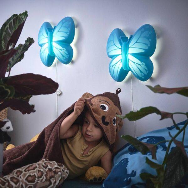 УППЛИСТ Бра, светодиодный, бабочка голубой - 504.407.99