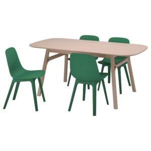 ВОКСЛЁВ / ОДГЕР Стол и 4 стула, бамбук, зеленый - 693.886.78