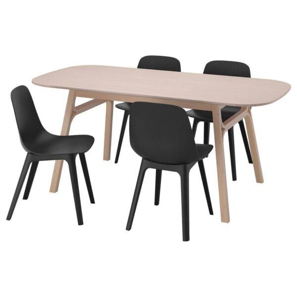 ВОКСЛЁВ / ОДГЕР Стол и 4 стула, бамбук, антрацит - 093.886.81
