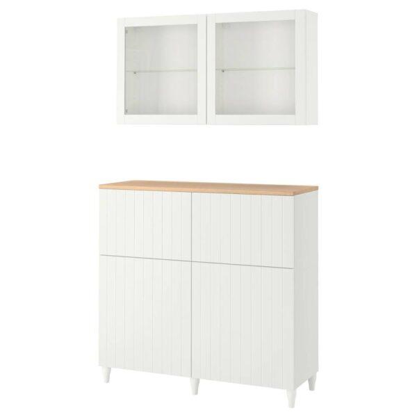 БЕСТО Комб для хран с дверц/ящ, белый, СУТТЕРВ/КАББАРП белый прозрачное стекло - 093.877.09