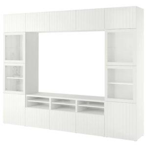 БЕСТО Шкаф для ТВ, комбин/стеклян дверцы, белый Суттервикен, Синдвик белый прозрачное стекло - 593.848.07