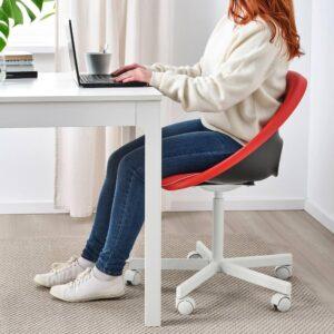 ЭЛДБЕРГЕТ / БЛИСКЭР Рабочий стул, красный, белый - 093.318.64