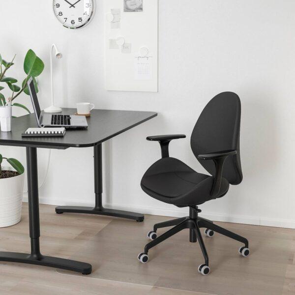 ХАТТЕФЬЕЛЛЬ Рабочий стул с подлокотниками, Смидиг черный, черный - 193.052.04