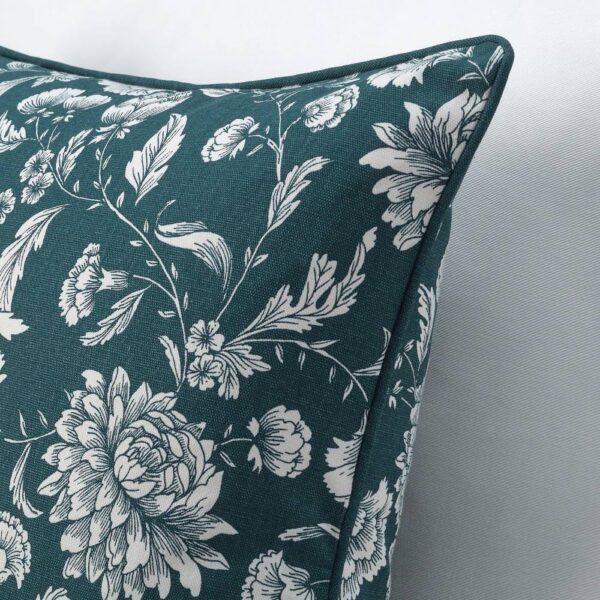 ИДАЛИННЕЯ Чехол на подушку, синий/белый, с цветочным орнаментом - 404.725.21