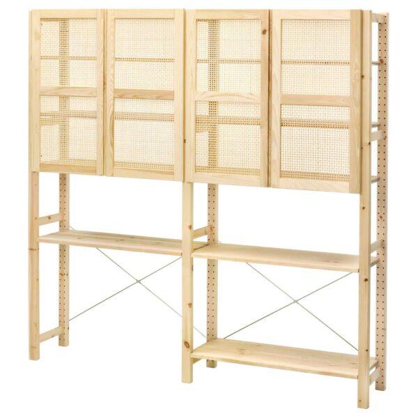 ИВАР Комбинация для хранения с дверцами, сосна - 693.870.04