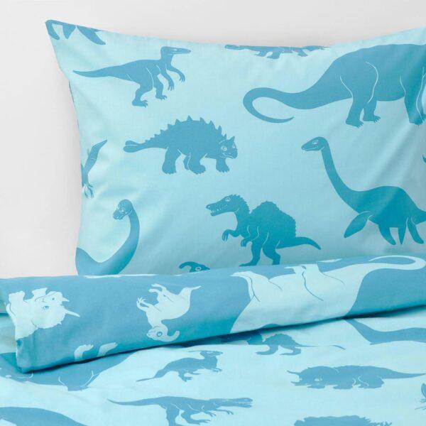 ЙЭТТЕЛИК Пододеяльник и 1 наволочка, динозавр, синий - 204.641.26