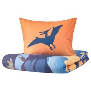 ЙЭТТЕЛИК Пододеяльник и 1 наволочка, динозавры на рассвете оранжевый, синий - 104.799.77