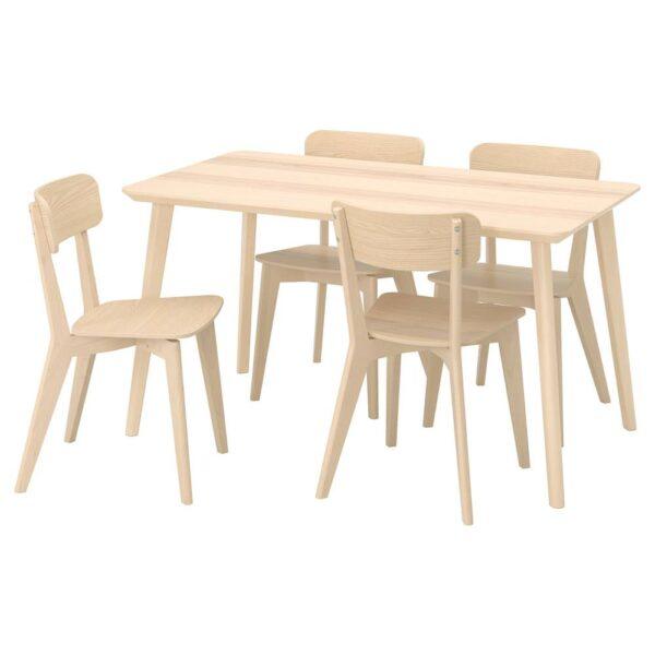 ЛИСАБО / ЛИСАБО Стол и 4 стула, ясеневый шпон, ясень - 093.855.31