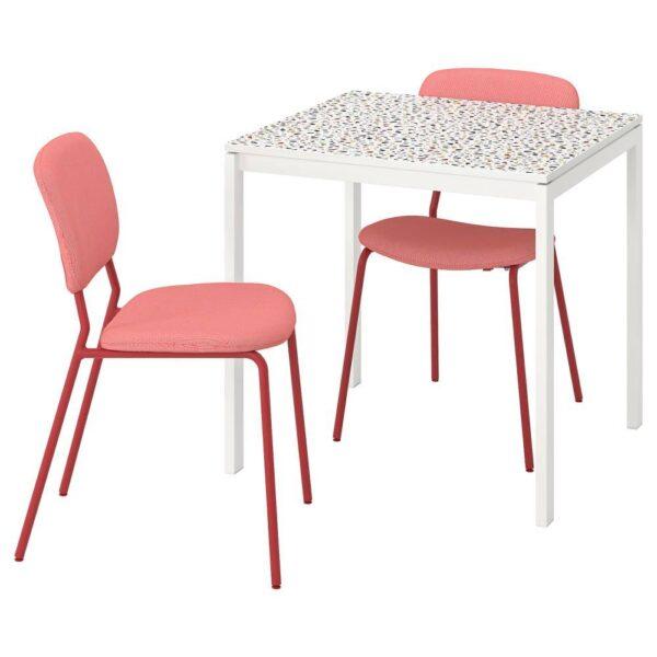 МЕЛЬТОРП / КАРЛ-ЯН Стол и 2 стула, мозаичный орнамент белый, Кабуса красный - 093.901.46