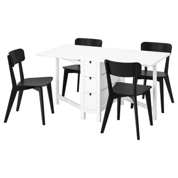 НОРДЕН / ЛИСАБО Стол и 4 стула, белый, черный - 993.855.41