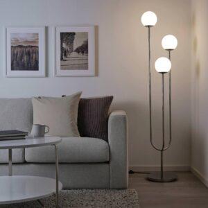 СИМРИСХАМН Светильник напольный, хромированный, молочный стекло - 304.377.74