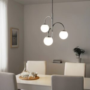 СИМРИСХАМН Подвесной светильник, 3-рожк, хромированный, молочный стекло - 004.078.39