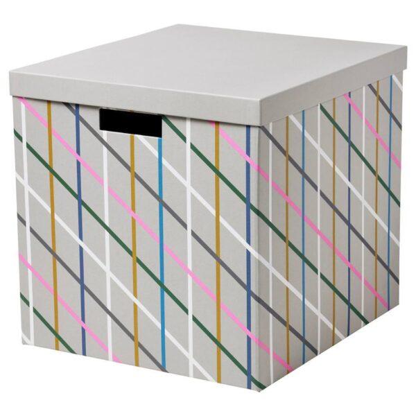 ТЬЕНА Коробка с крышкой, серый разноцветный, бумага - 304.673.13