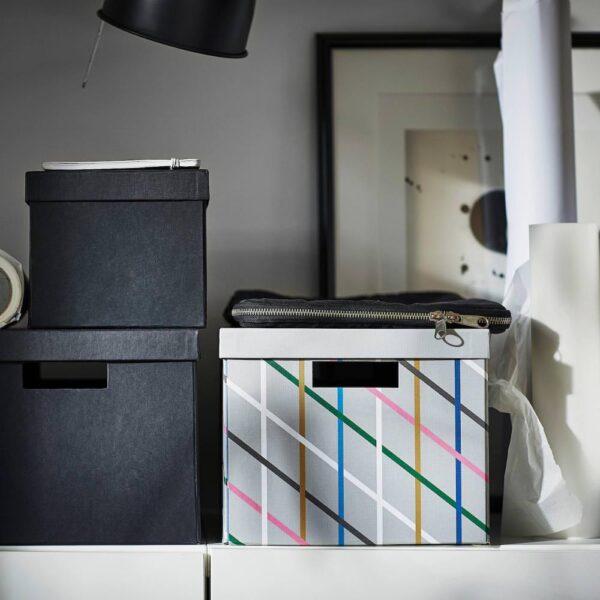 ТЬЕНА Коробка с крышкой, серый разноцветный, бумага - 604.673.21