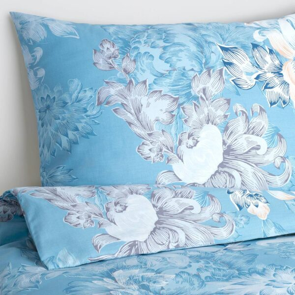 ФОБЛОММИГ Пододеяльник и 2 наволочки, цветок/синий - 704.992.08