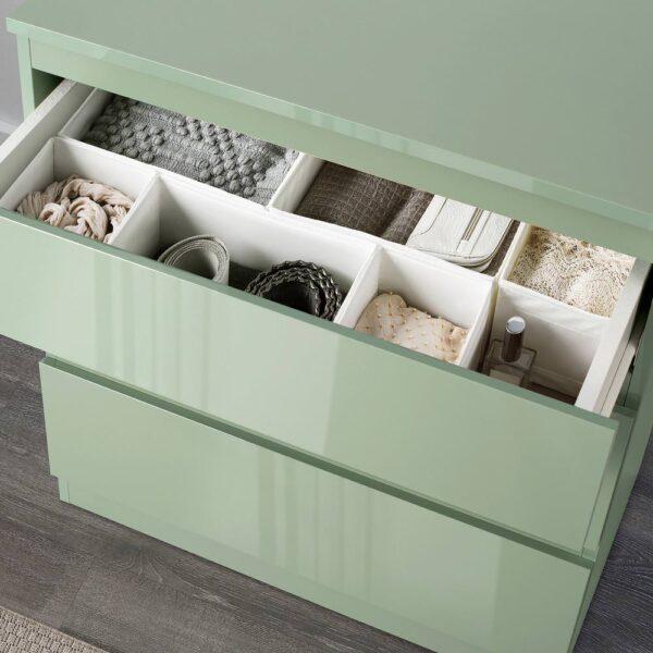 СКОНЕВИК Комод с 3 ящиками, глянцевый серо-зеленый - 504.974.32