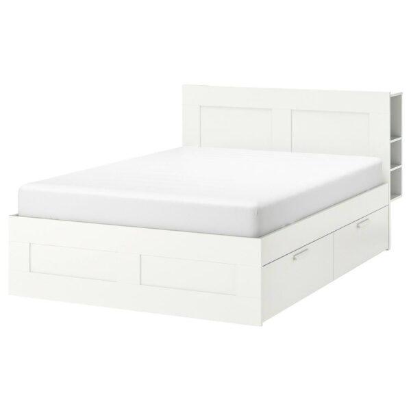 БРИМНЭС Каркас кровати с изголовьем, белый/Леирсунд - 993.986.09