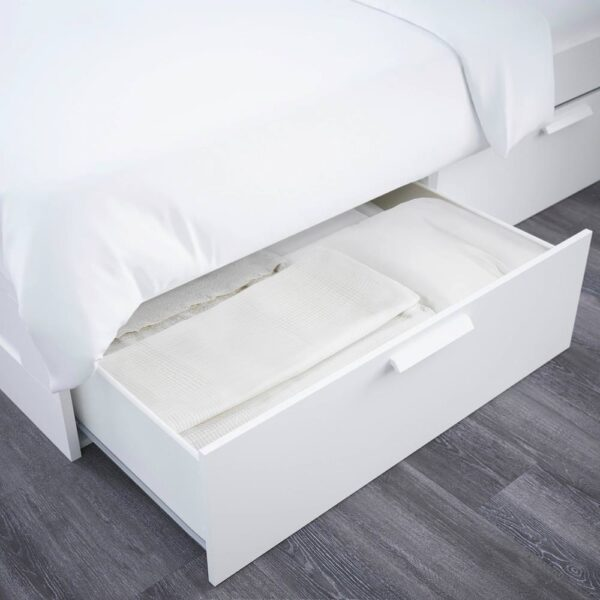 БРИМНЭС Каркас кровати с изголовьем, белый/Лонсет - 393.986.07