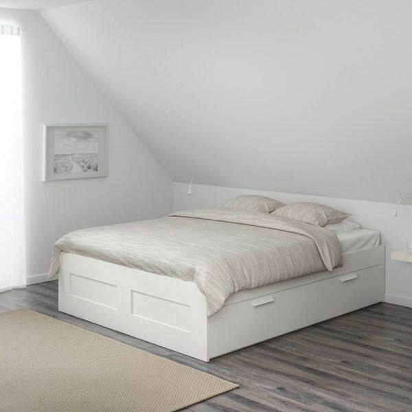 БРИМНЭС Каркас кровати с ящиками, белый/Леирсунд - 393.986.12
