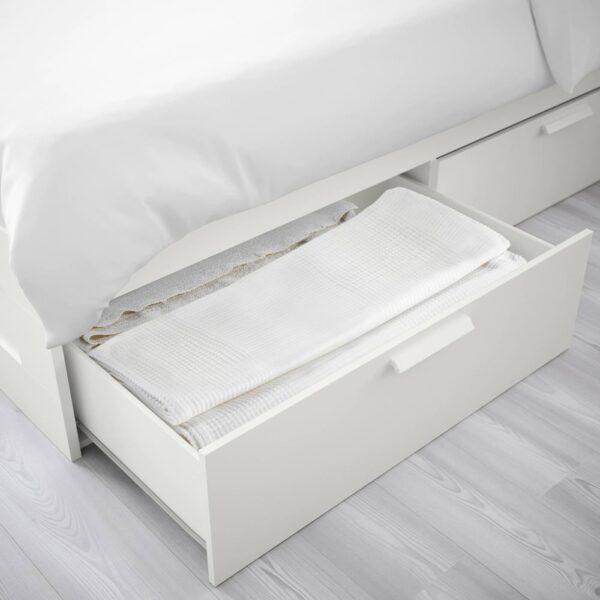 БРИМНЭС Каркас кровати с ящиками, белый/Лонсет - 993.986.14