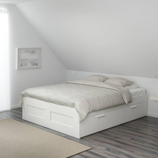 БРИМНЭС Каркас кровати с ящиками, белый/Лурой - 193.986.13