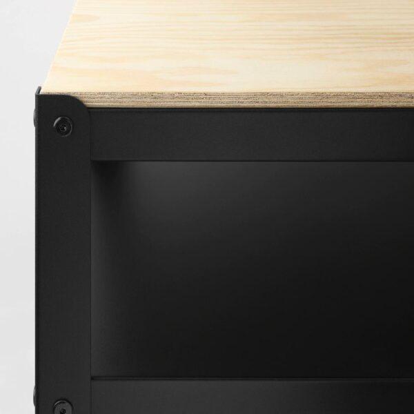 БРУР Стол-стеллаж, черный, сосновая фанера - 204.669.41