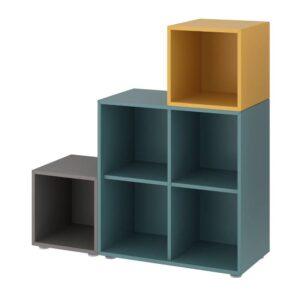 ЭКЕТ Комбинация шкафов с ножками, темно-серый серо-бирюзовый/золотисто-коричневый - 093.860.93