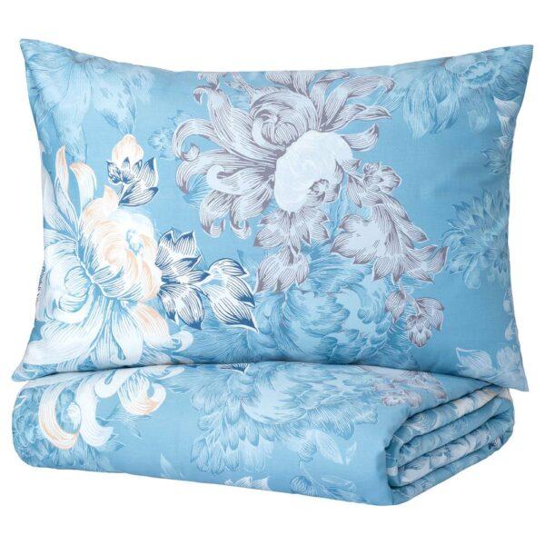 ФОБЛОММИГ Пододеяльник и 1 наволочка, цветок/синий - 504.992.09