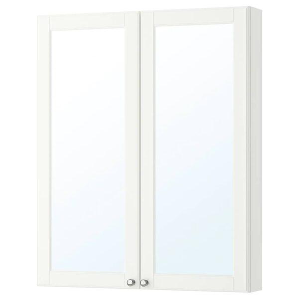 ГОДМОРГОН Зеркальный шкаф с 2 дверцами, Кашён белый - 504.859.00