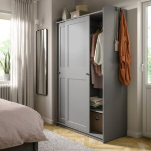 ХАУГА Гардероб с раздвижными дверями, серый - 804.569.15