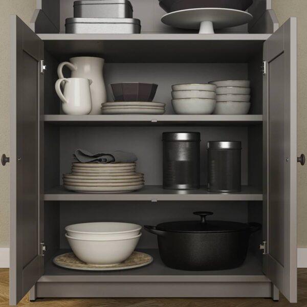 ХАУГА Шкаф высокий,2дверный, серый - 904.150.57