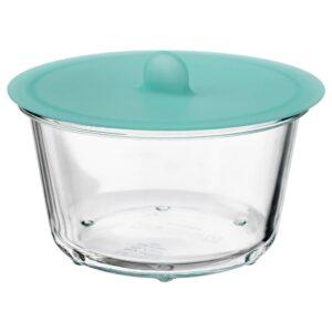 ИКЕА/365+ Контейнер для продуктов с крышкой, круглый стекло, силикон - 392.767.57