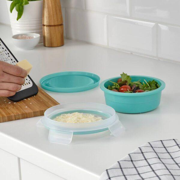 ИКЕА/365+ Контейнер для завтрака с отделением, круглый бирюзовый - 404.800.31