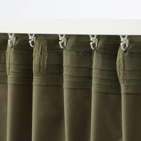 САНЕЛА Затемняющие гардины, 1 пара, оливково-зеленый - 104.800.75