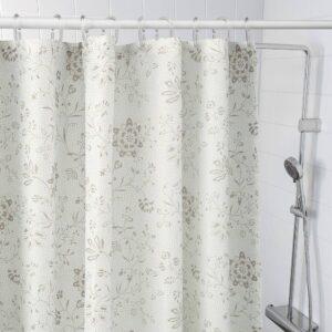 ТЮККЕЛЬН Штора для ванной, белый/темно-бежевый - 904.749.14