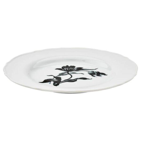 УППЛАГА Тарелка десертная, белый/с рисунком - 604.737.65