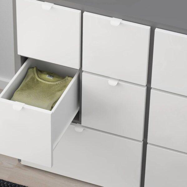 ВИСТХУС Комод с 8 ящиками, серый/белый - 704.935.36