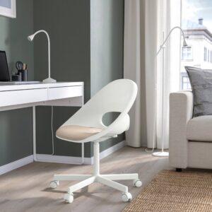 ЛОБЕРГЕТ / БЛИСКЭР Рабочее кресло c подушкой, белый/бежевый - 693.318.80
