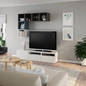 БЕСТО / ЭКЕТ Комбинация для ТВ, белый/темно-серый/серо-бирюзовый 180x42x170 см - 394.135.37