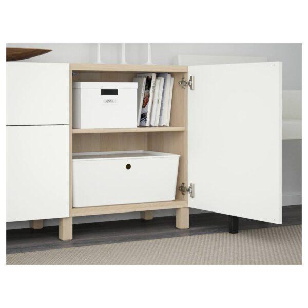 БЕСТО Комбинация для хранения с ящиками, под беленый дуб/Лаппвикен белый 180x40x74 см - 592.489.28
