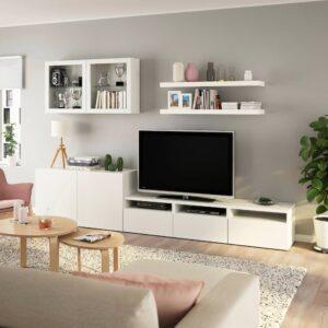 БЕСТО / ЛАКК Шкаф для ТВ, комбинация, белый 300x42x195 см - 093.987.36